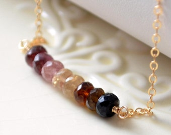 Genuine Tourmaline Necklace, Pink Tan and Brown Shaded Row, Semiprecious Gemstone, Sterling Silver or Gold Jewelry, Free Shipping