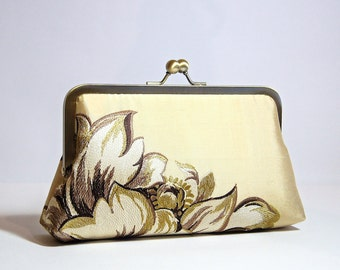 Embroidered Silk Clutch in Pale Gold, Wedding clutch, Bridal clutch, Bridesmaid clutch, Evening bag