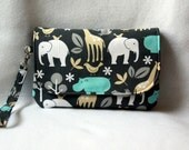 Diaper Clutch with Changing Pad - Zoo Animal Print and Polka Dots - Blue and Gray
