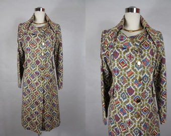 1960's Vintage Structured Tapestry Style Coat with Large Collar