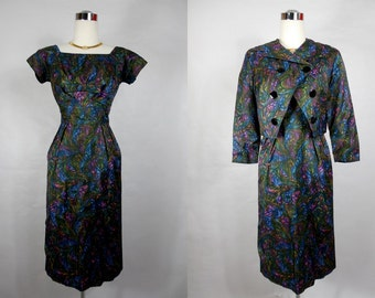 1950's/1960's Vintage Menger Dark Purple, Green and Blue Wiggle Dress with Jacket