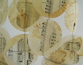 Vintage music sheet Heart Garland /mini cupcake liners