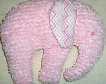 Stuffed Chenille Elephant, Pink, ears are White with Pink Chevron Print