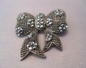 Vintage Jet Crystal Enamel Bow Pin