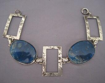 Vintage Sterling Lapis Bracelet
