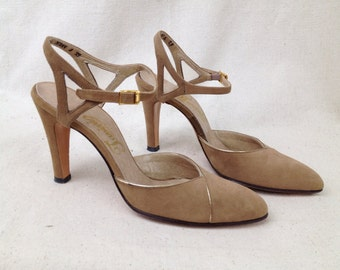 Vintage 1970s Tavini shoes Suede ankle strap gold accents High Heel Pumps Disco Retro
