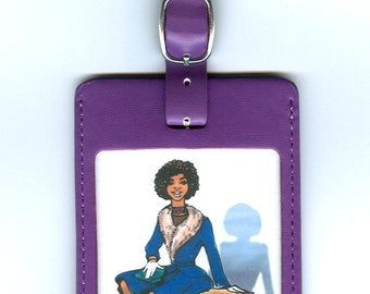 GORGEOUS LEATHER Funny Luggage Tag - This IS light packing (African American)