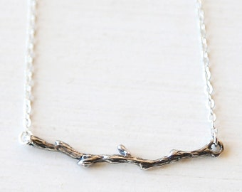 Sterling Silver Branch Necklace - modern simple everyday jewelry