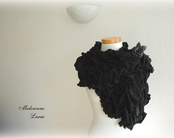 Black Natural Scarf Cowl With Linen Knitted  Leather Brooch Gifts Unique Eco Winter Accessories Fiber Art