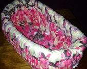 Pink floral fabric basket