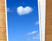 "Valentine CARD ""Love Cloud"" Original 6 x 4 Photo on Nice Thick Card Stock. Love Card, Blue, Heart Shaped Cloud, White, Wedding, Engagement,"