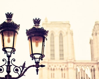 Notre Dame Photo, Paris Photo, Paris Lamplight Photo,  NOTRE DAME , Paris Architecture Photo, Street Lamp in Paris Photo, Paris Church Photo