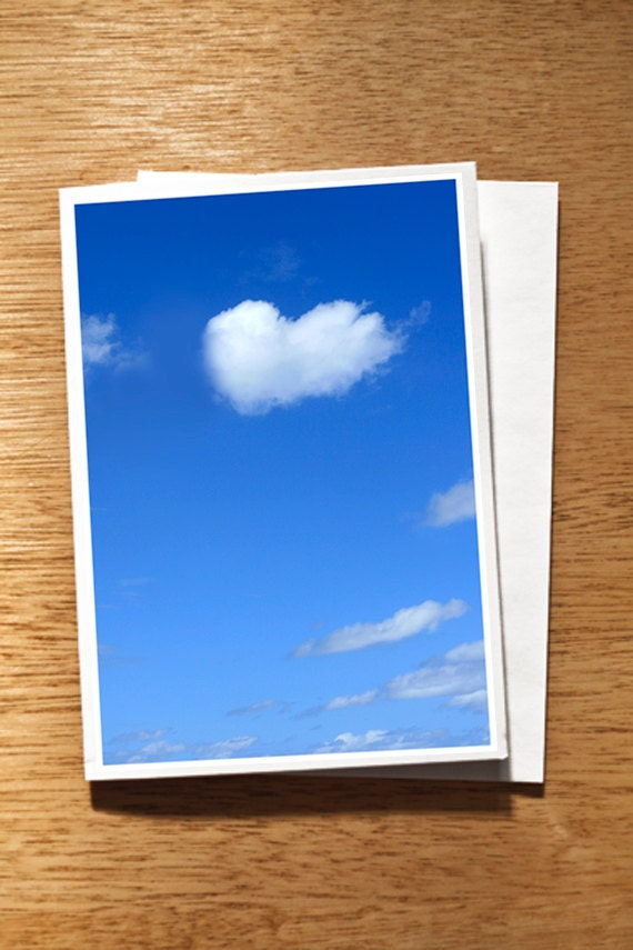 "Heart Cloud CARD ""Love Cloud"" Original Photo on Nice Thick Card Stock. Love Card, Blue Sky White Heart Shaped Cloud, Wedding, Engagement"
