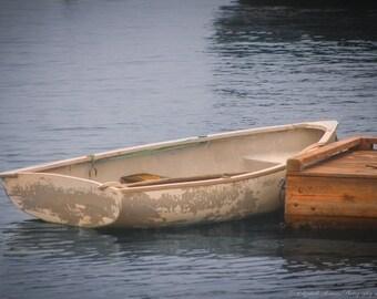 BOAT Photography ~ ROW BOAT Art Beach Cottage Coastal Marine Nautical Decor Row Boat Print Blue Beige Brown Colors
