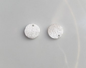 2pcs Sterling silver brushed round charm ( 8mm),  brushed circle, silver disk