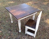 childs turned leg table and 1 chair