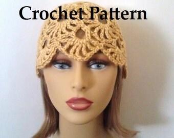 Crochet Pattern - Hat, Womens Lacy Cloche Hat, Instant Download