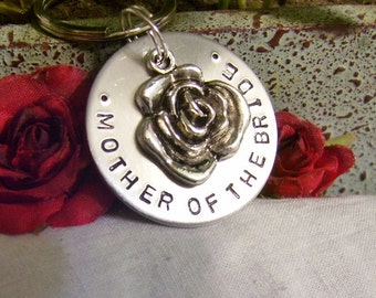 Mother of the bride handstamped silver keychain gift