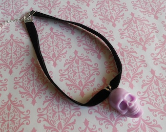 Pastel Goth skull necklace choker purple lavender