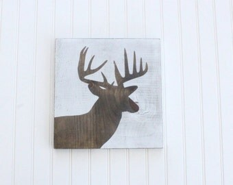 White Distressed Deer Silhouette/Head -  Wood Sign