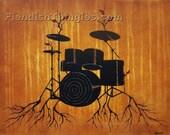 "Rhythm 8"" x 10"" print of an original acrylic painting by Owen Klaas drums tree red leaves drum set yellow"