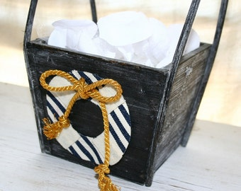Nautical Flower Girl Basket - Nautical Chic - Anchor - Sailor Stripes - Golden Rope - Matching Ring Pillow Available