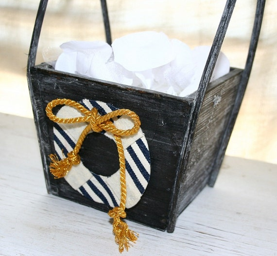 Nautical flower girl baskets : Nautical flower girl basket chic anchor