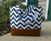 navy chevron diaper bag,  Large diaper bag leather bottom, tote bag, navy canvas with leather, Everything Bag, Zig Zag,