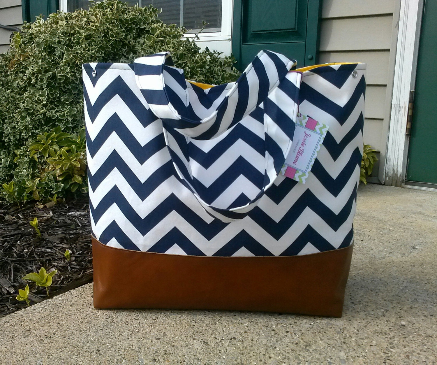 navy chevron diaper bag large diaper bag leather by jessieblume. Black Bedroom Furniture Sets. Home Design Ideas