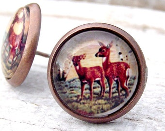 SALE. Nature stud earrings. Bambi stud earrings. Handmade glass cabochons. Photo earrings