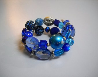 Cobalt Blue and Silver Beaded Memory Wire Bracelet
