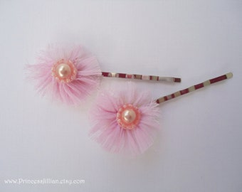 Fabric hair grips - Romantic pale blush pink with pearls hair accessories TREASURY ITEM