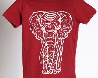 Ready To Ship!!!!Elephant on American Apparel T Shirt 2t, 4t, 6t, 8y, 10y, 12y