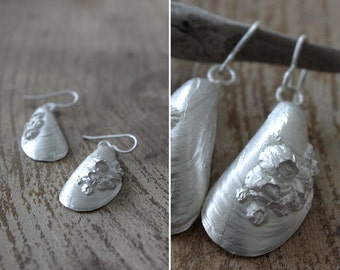 Hand Made Sterling Silver Mussel Shell Dangle Earrings