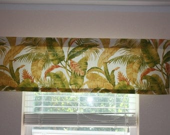 """Valance Curtain Tropical Theme Swavelle Mill Creek La Selva Pina Colda 50"""" by 16"""""""