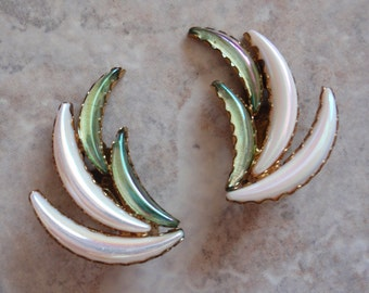 Iridescent Glass Crescent Earrings Blue Green White Clip On Made in Germany Vintage Estate V0030
