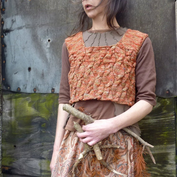 Woodwalker Bodice, hand knitted in rust brown pure hand painted merino wool, cable stitch, READY TO SHIP