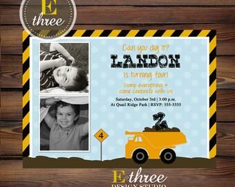 Construction Birthday Party Invitation - Boy's Party Invite- Dump Truck Invite