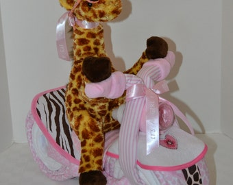 Diaper Cake, Motorcycle Bike Diaper Cake, Baby Cake, Giraffe, Jungle, Safari,Zebra,Baby Shower Gift, Centerpiece, Baby Cake, Girl, New Baby