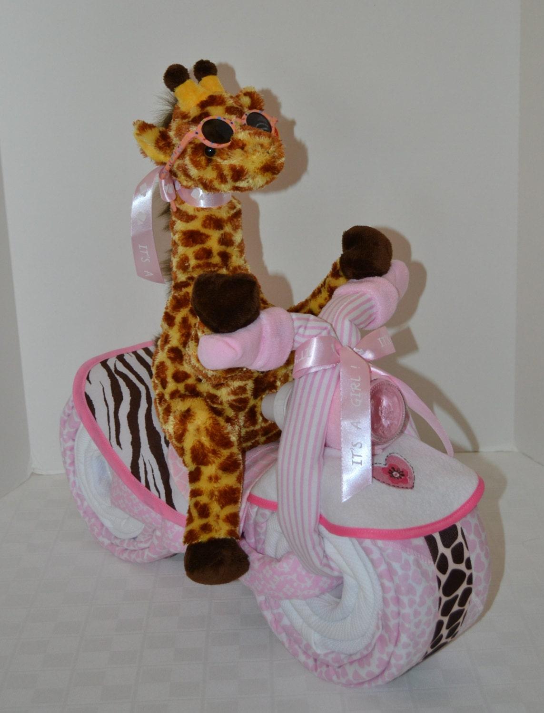 Diaper Cake Motorcycle Bike Diaper Cake Baby Cake Giraffe