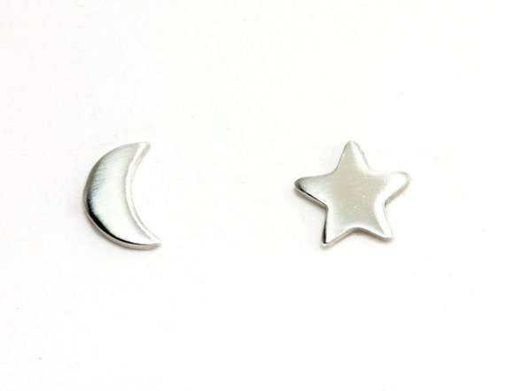 Moon Star Earrings - Silver