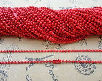 40pcs 2.4mm 27 inch red ball chain necklace with matching connector