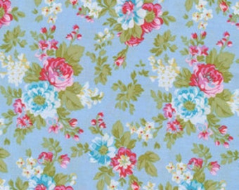 Tanya Whelan  - Delilah - Delilah in Blue - shabby chic cottage chic floral blue red cotton quilting fabric - choose your cut