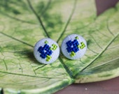 Floral stud earrings - blue flowers - hand embroidery - textile jewelry - Summer collection by Skrynka - e004blue