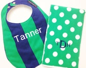 Monogrammed Bib and Burp Cloth set - Navy Blue and Green - Stripes and Polka Dots - Etsykids Team - Personalized Baby Bib