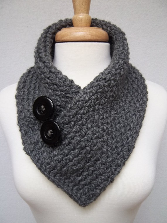 Knitted Cowl Pattern With Buttons : Knitted Scarf Gray Cowl Neck Warmer Buttoned Scarflette