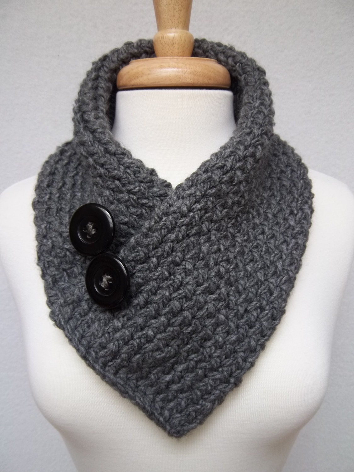 Knitted Scarf Gray Cowl Neck Warmer Buttoned Scarflette