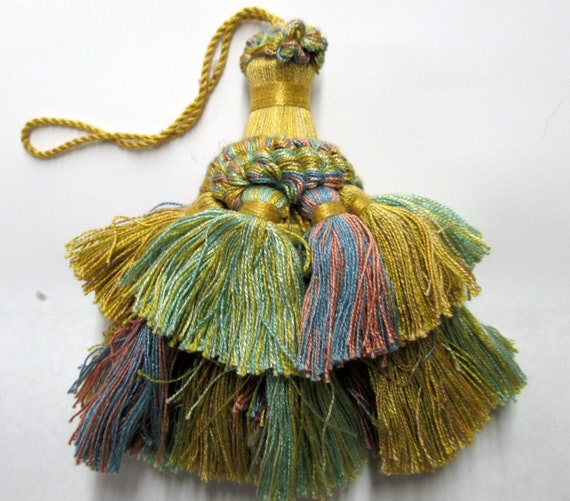 Vintage Italian ARMOIRE TASSEL gold/greens/pink/blue/mint colors