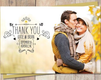 Wedding Thank You, Thank You, Wedding Thank You Card - Soo Sketchy