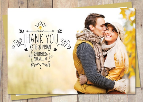 Wedding Thank You, Thank You, Wedding Thank You Card - Soo Sketchy